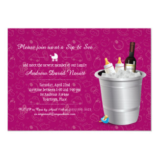 Pink Wine and Baby Bottles Sip and See Baby Shower Card