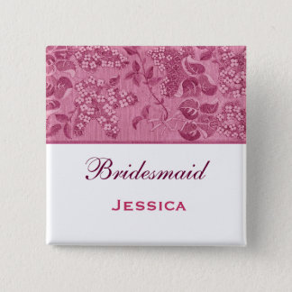 Pink, Wine and White Vintage Flowers Bridesmaid Button
