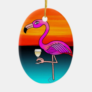 Pink Wine drinking Flamingo customized Ceramic Ornament