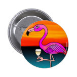 Pink Wine drinking Flamingo customized gifts. Badge