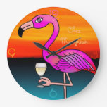 Pink Wine drinking Flamingo customized wall clock