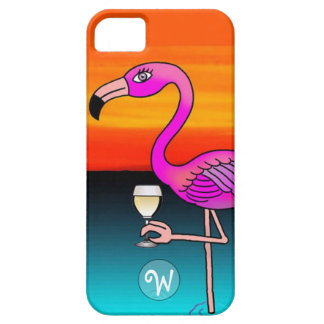 Pink Wine drinking Flamingo Monogrammed iPhone SE/5/5s Case