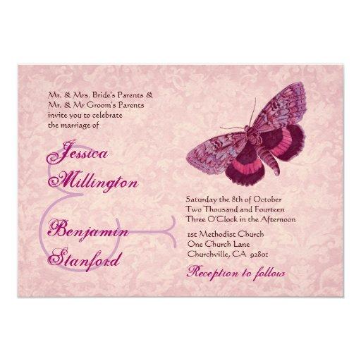 Pink  Wine Vintage Butterflies Wedding Template Card