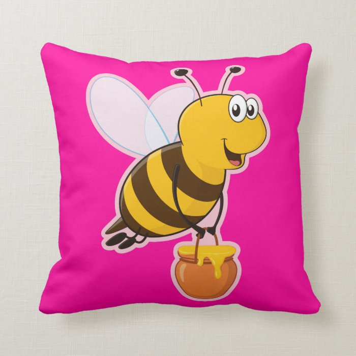Pink Wing Honey Bee American MoJo Pillows