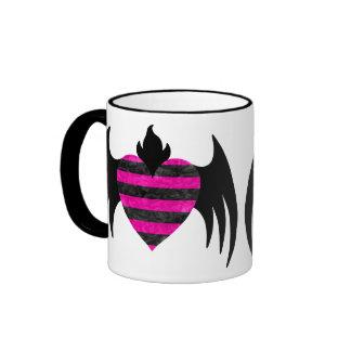 Pink winged heart cute punk emo coffee mug