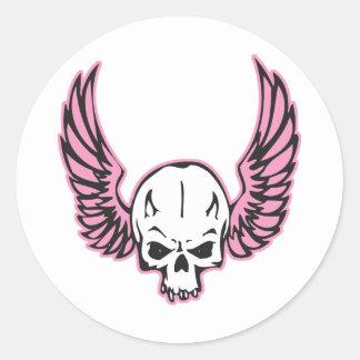 pink winged skull classic round sticker