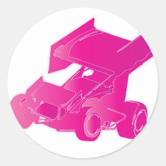 Pink winged sprint car round sticker
