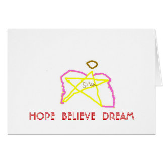 pink wings star angel 1, HOPE  BELIEVE  DREAM Card