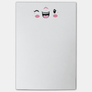 Pink Winking Kawaii Face Note Cards Post-it® Notes