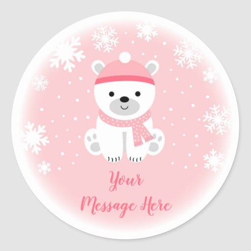 Pink Winter Bear Baby Shower Classic Round Sticker