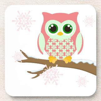 Pink winter owl beverage coaster