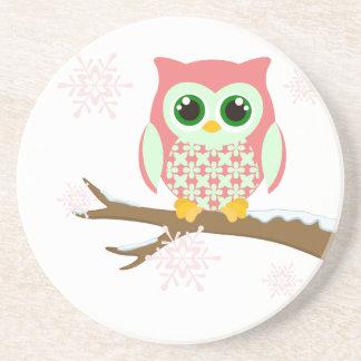 Pink winter owl coaster