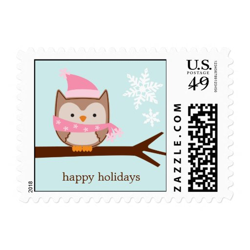 Pink Winter Owl Custom Postage