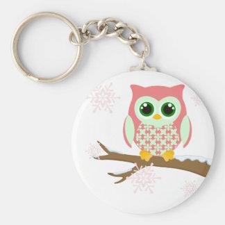 Pink winter owl keychain