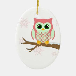 Pink winter owl ornament