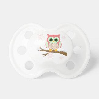 Pink winter owl pacifier