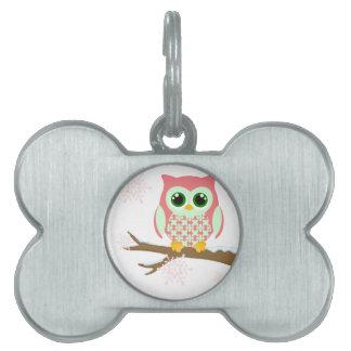 Pink winter owl pet ID tag