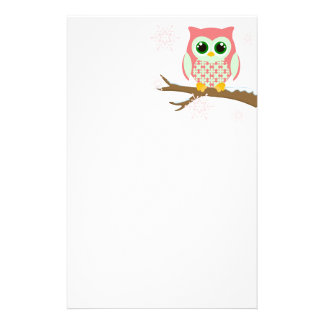 Pink winter owl stationery