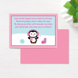 Pink Winter Penguin Book Request Cards