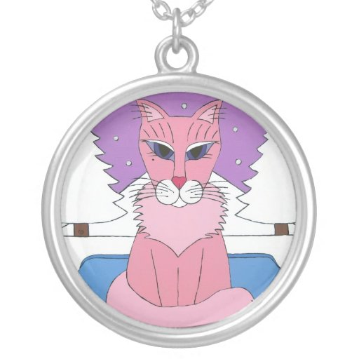 Pink Winter Snow Cat Necklace