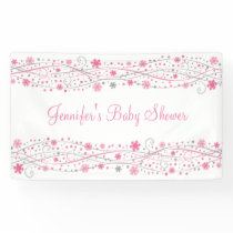 Pink Winter Snowflake Baby Shower Banner
