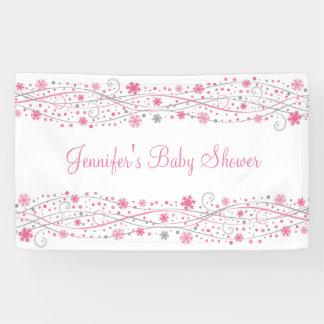 Pink Winter Snowflake Baby Shower Banner