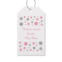 Pink Winter Snowflake Baby Shower Gift Tags