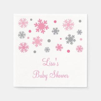 Pink Winter Snowflake Baby Shower Paper Napkin
