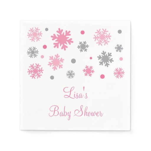 Pink Winter Snowflake Baby Shower Paper Napkin