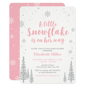 Pink Winter Baby Shower Invitations Templates Wonderland, Girl