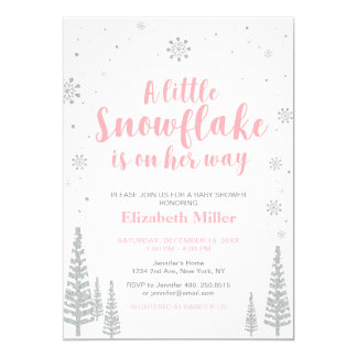 Pink Winter Wonderland, Girl Baby Shower/Sprinkle Card