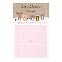 Pink Winter Woodland Animal Baby Shower Bingo Flyer