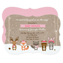 Pink Winter Woodland Animal Baby Shower Card