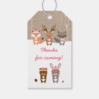 Pink Winter Woodland Animal Baby Shower Gift Tags