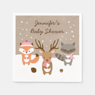 Pink Winter Woodland Animal Baby Shower Paper Napkin