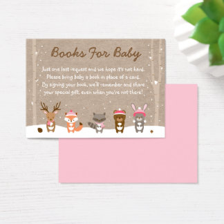 Pink Winter Woodland Animal Book Request Cards
