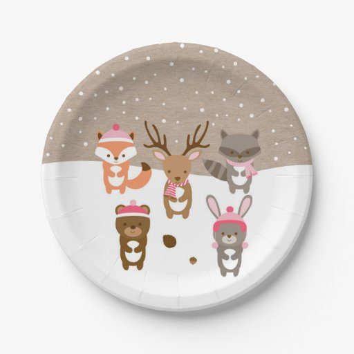 Pink Winter Woodland Animal Paper Plates
