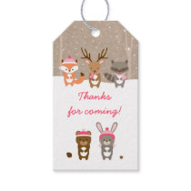 Pink Winter Woodland Animal Party Favor Tags