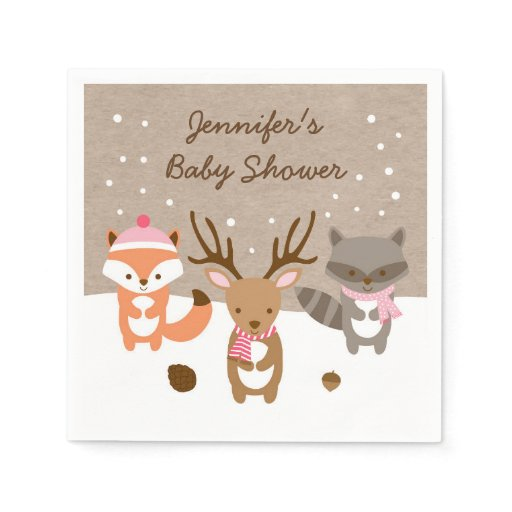 Pink Winter Woodland Animal Personalized Napkins
