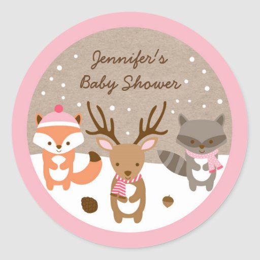 Pink Winter Woodland Animal Stickers