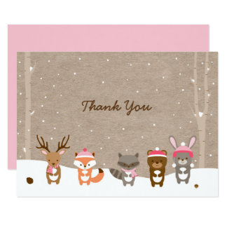 Pink Winter Woodland Animal Thank You Cards