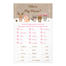 Pink Winter Woodland Baby Shower Animal Match Game Flyer
