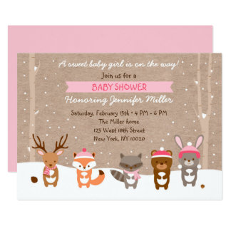 Pink Winter Woodland Baby Shower Invitations