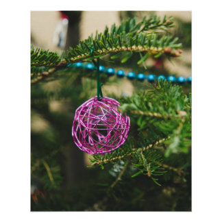 Pink wire Christmas bauble Poster