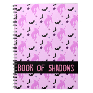 Pink Witch and Bats Girly Book of Shadows Spiral Notebook
