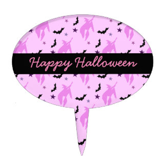 Pink Witch and Bats Girly Halloween Cake Topper
