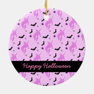 Pink Witch and Bats Girly Halloween Ceramic Ornament