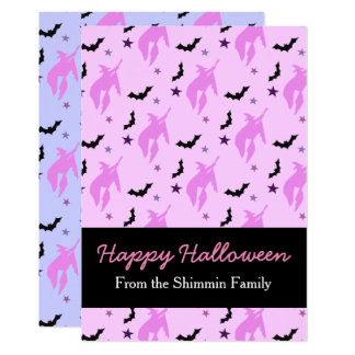 Pink Witch and Bats Girly Halloween Family Card