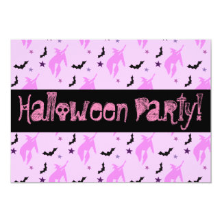 Pink Witch and Bats Girly Halloween Party Card