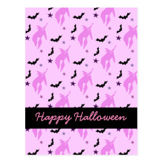 Pink Witch and Bats Girly Halloween Postcard
